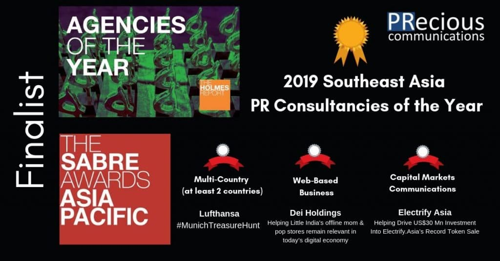PRecious Communications Shortlisted for the Holmes Report 2019 Southeast Asia PR Consultancies of the Year and Three 2019 Asia-Pacific SABRE Awards Awards